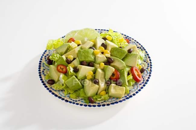 Assiette de salade avocat — Photo de stock