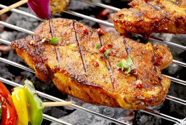 Pork neck steaks — Stock Photo