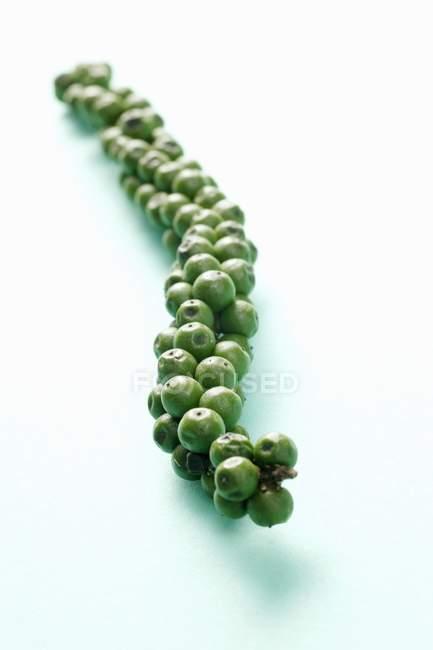 Vista de cerca del racimo de granos de pimienta verde en la superficie blanca - foto de stock