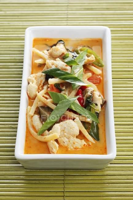 Nahaufnahme von rotem Thai Truthahn-Curry in weißer Schale — Stockfoto