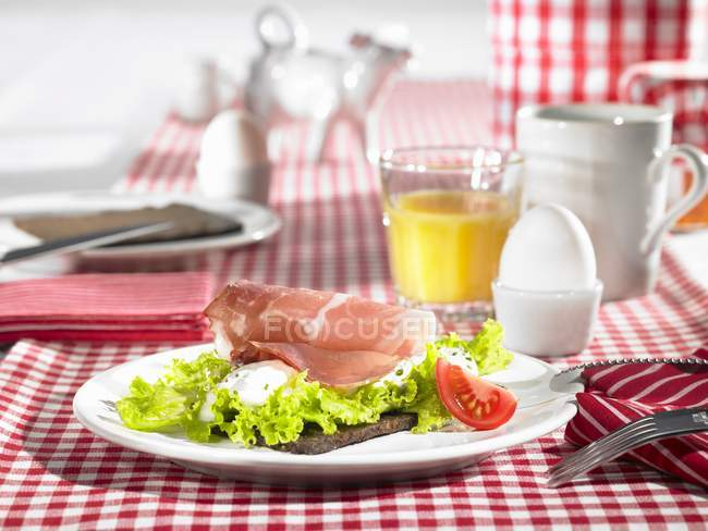 Table laid for breakfast — Stock Photo