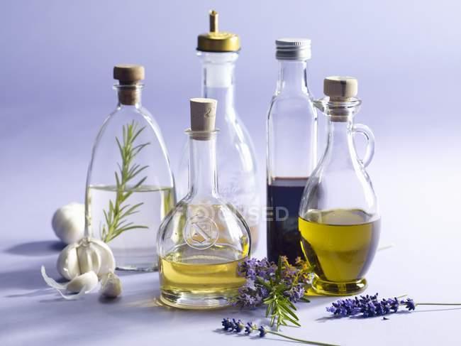 Vue rapprochée d'un arrangement de bouteilles d'huile et de vinaigre — Photo de stock