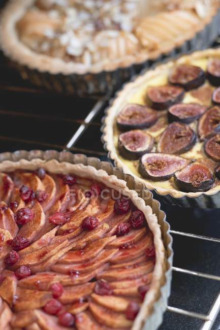 Three fruit tarts — Stock Photo