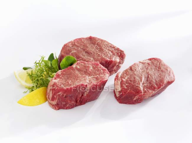 Raw beef fillet steaks — Stock Photo