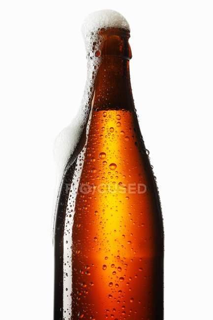 Espuma de cerveja fora da garrafa — Fotografia de Stock