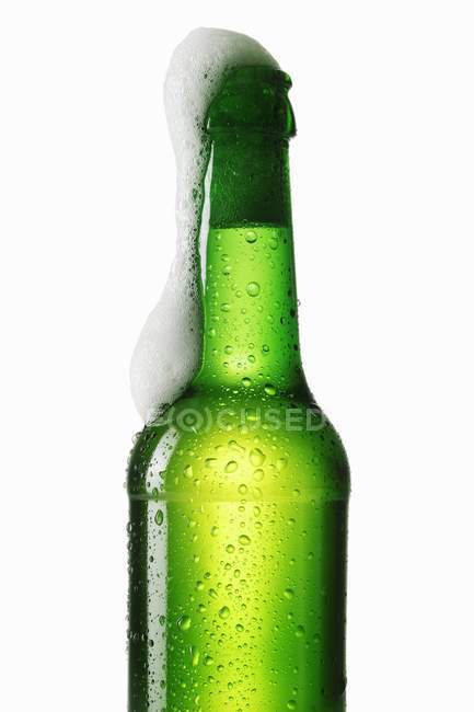 Garrafa verde de cerveja — Fotografia de Stock
