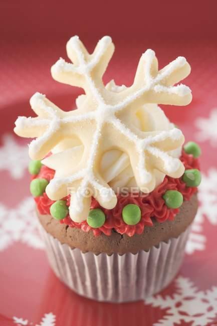 Cupcake decorada para o Natal — Fotografia de Stock