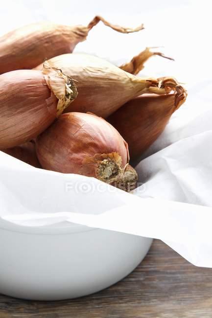 Bowl of fresh shallots — Stock Photo