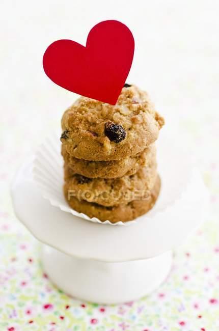 Pile de biscuits aux raisins secs — Photo de stock