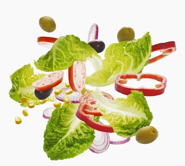 Verschiedene Salatzutaten — Stockfoto