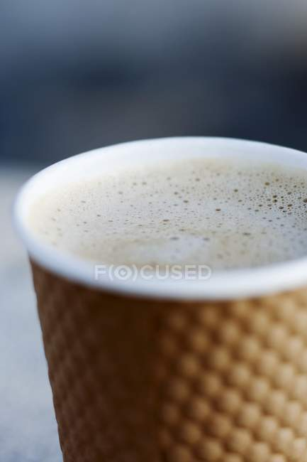 Cappuccino in paper To-Go Cup — Stock Photo