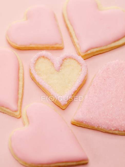 Pink heart-shaped biscuits — Stock Photo