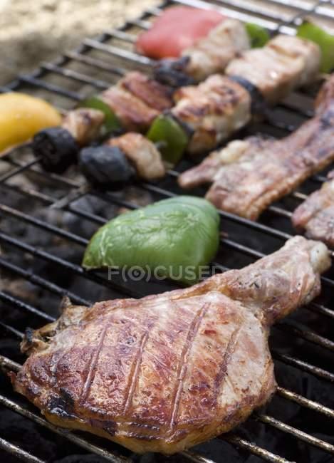 Pork chop and kebabs — Stock Photo