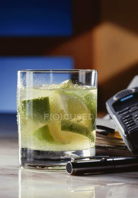 Glass of Caipirinha cocktail — Stock Photo