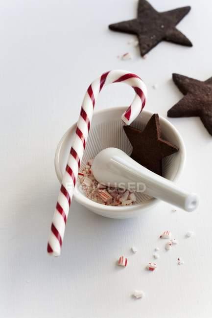 Canne à bonbons en mortier — Photo de stock