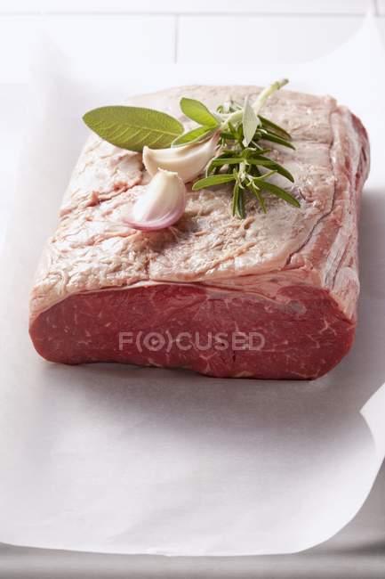 Шматок сирого м'яса з травами — стокове фото