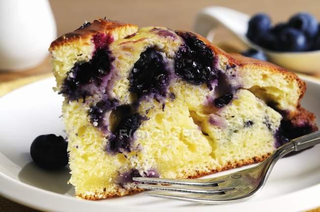 Кусочек торта рикотта и голубики — стоковое фото