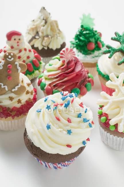 Cupcakes variados para o Natal — Fotografia de Stock
