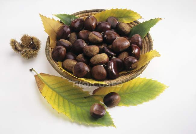Sweet chestnuts in a small basket — Stock Photo