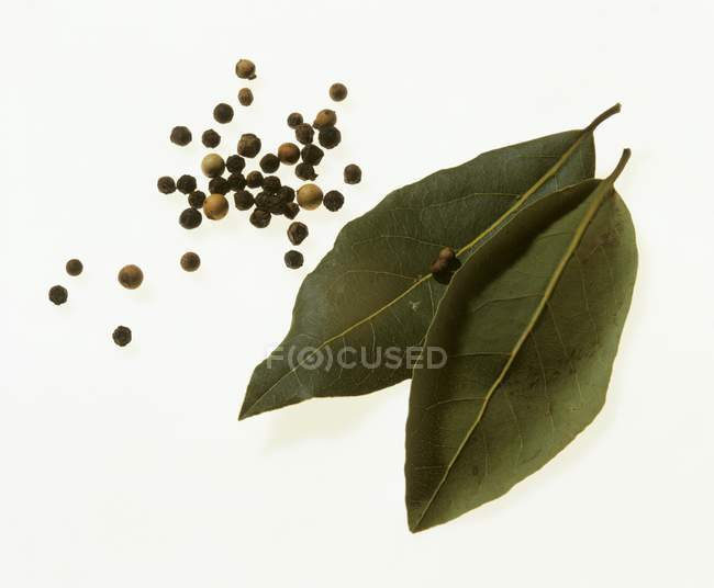 Dried bay leaves and peppercorns — Stock Photo