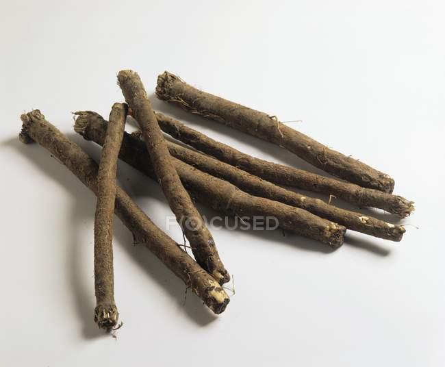 Varias raíces scorzonera - foto de stock