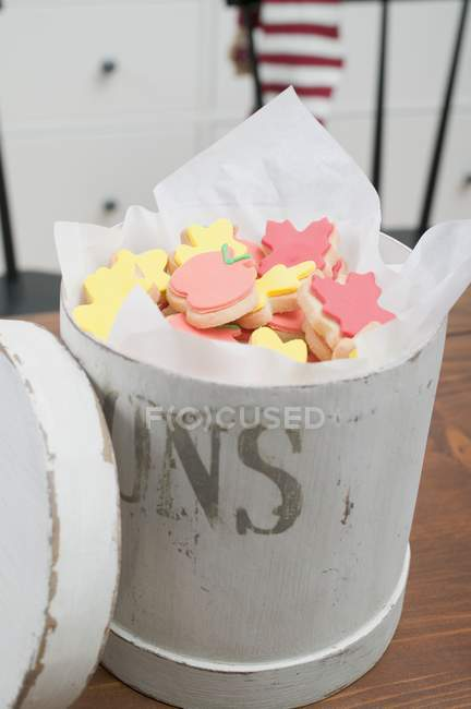 Autumn cookies in cookie tin — Stock Photo