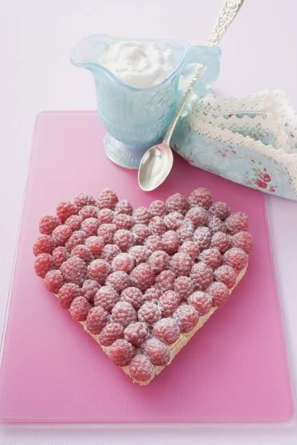 Raspberry tart with icing sugar — Stock Photo