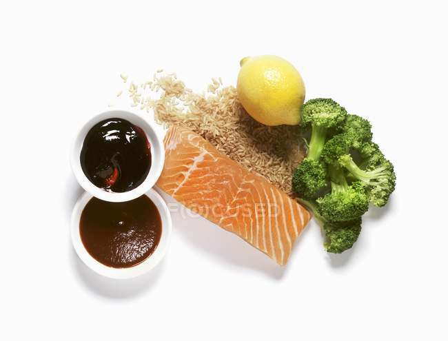 Salmon and rice dinner ingredients — Stock Photo