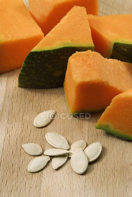 Pumpkin slices with seeds — Stock Photo