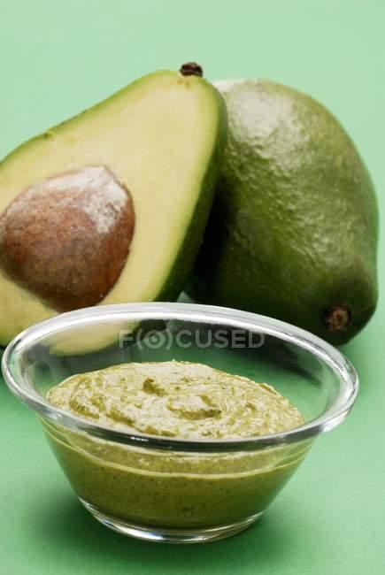 Avocado spread with avocados — Stock Photo
