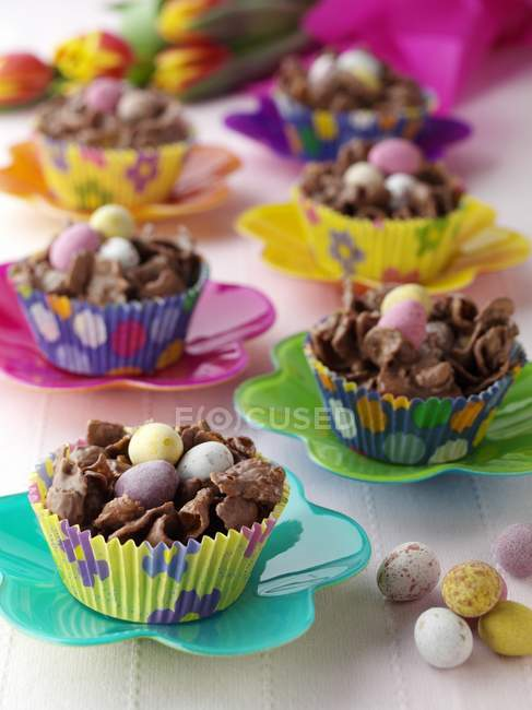 Chocolate Easter Nests in Cupcake Liners — Stock Photo