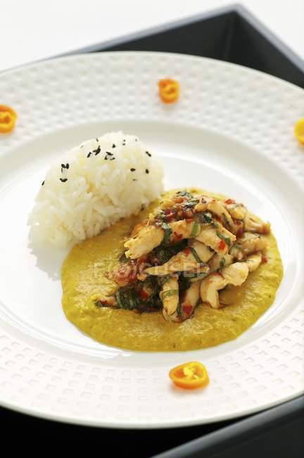 Курица карри с рисом — стоковое фото
