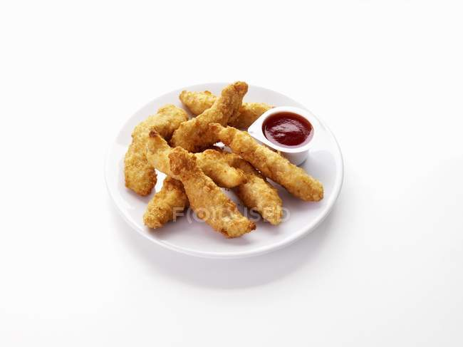 Doigts de poulet avec trempette — Photo de stock