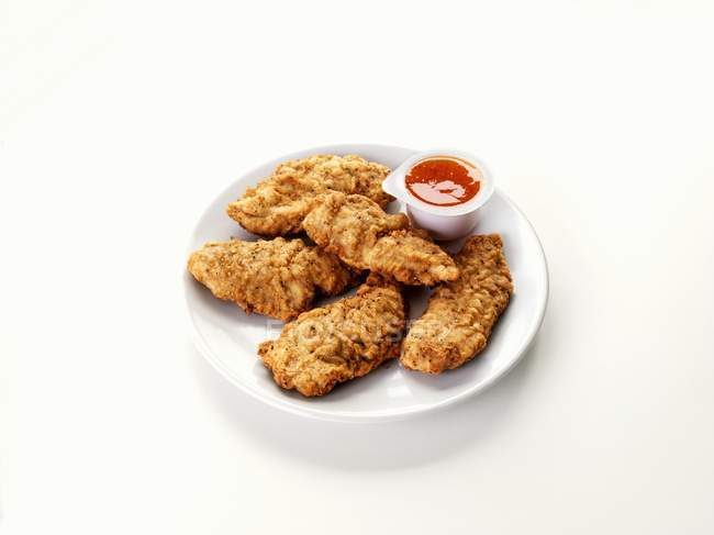 Chicken Goujons With Dip Fast Food White Stock Photo 150535738