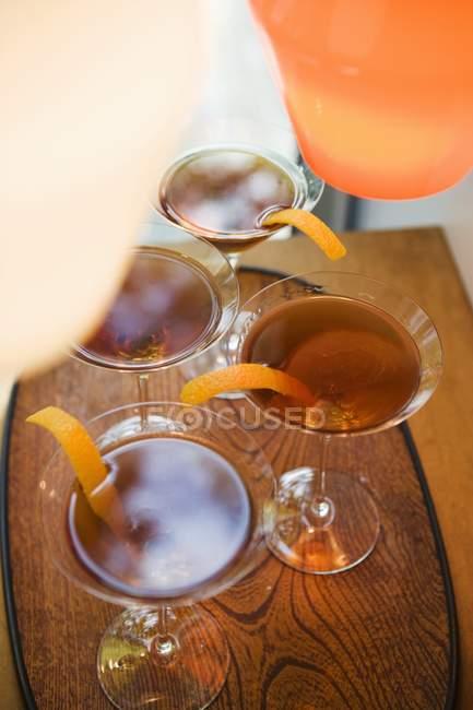 Whiskey-Cocktails im Glas — Stockfoto