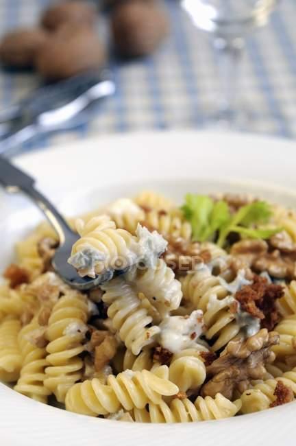 Massa Fusilli com queijo Gorgonzola — Fotografia de Stock