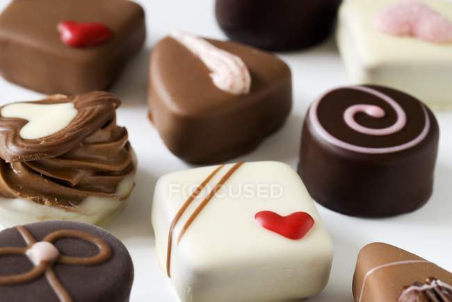 Assorted chocolates for Valentine Day — Stock Photo