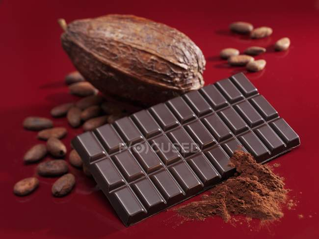 Barra de chocolate, cacao - foto de stock