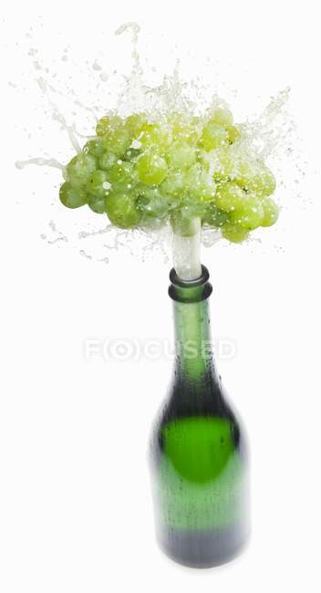 Sparkling wine splashing out of bottle — Stock Photo