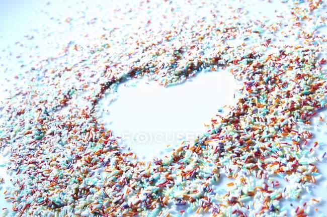 Closeup view of sprinkles with heart shape — Stock Photo
