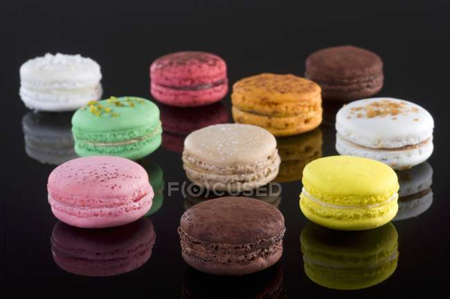 Ten colourful macaroons — Stock Photo