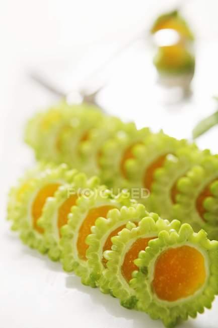 Closeup view of Bitter Volume Asian sliced dish — Stock Photo