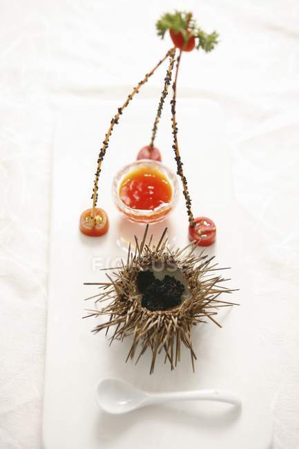 Vista elevada do ouriço recheado com caviar, legumes e molho — Fotografia de Stock