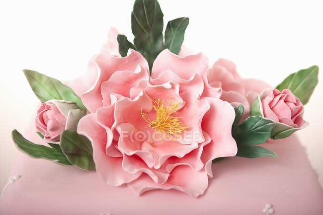 Vista close-up de bolo de fondant com flores doces e folhas — Fotografia de Stock