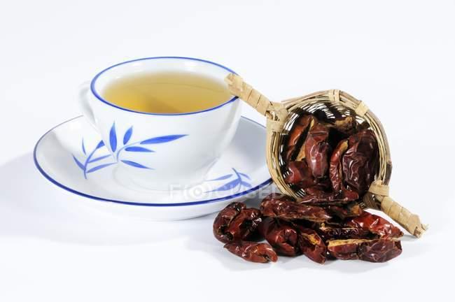 Зизифус настоящий чай и сушеные ююбу — стоковое фото