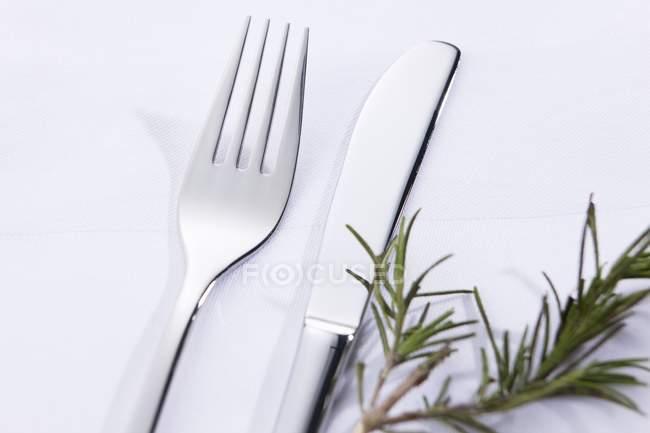 Messer und Gabel mit Rosmarinzweig — Stockfoto