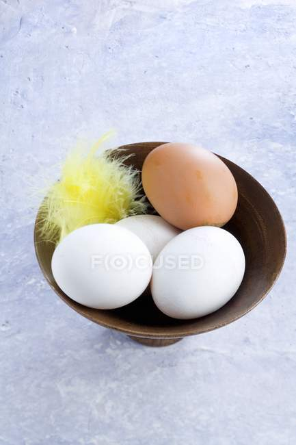 White and brown chicken eggs — Stock Photo