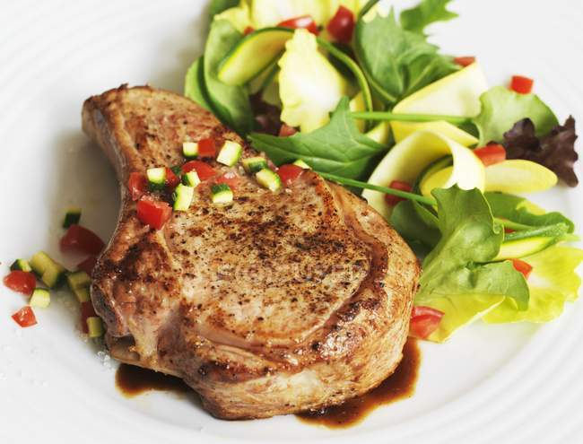 Veal Chop with Salad — Stock Photo