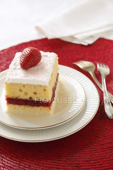 Piece of Tres Leches Cake — Stock Photo