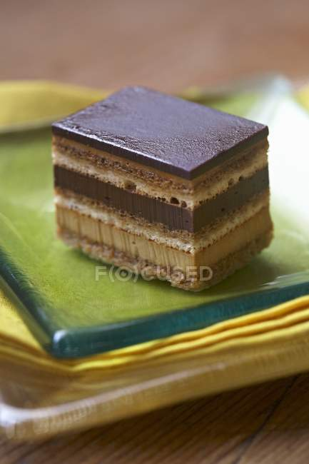 Closeup view of layered chocolate dessert on plate — Stock Photo